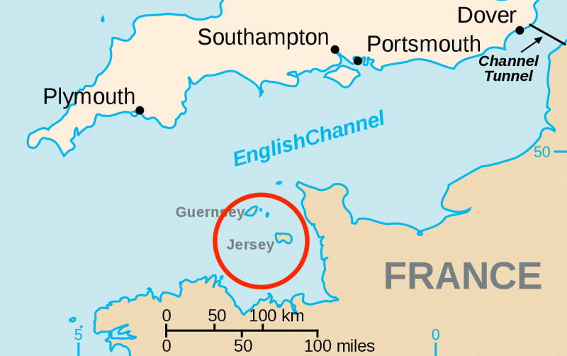 illustrative map showing the location of Jersey in the English channel